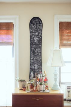 hannah kate flora - neat idea for an old snowboard
