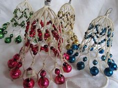 Pre WWII Chicken Wire Mercury Glass Bell Ornaments Set Of 4...hjw