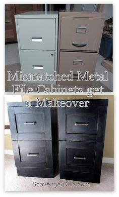Mismatched Metal File Cabinets get a Makeover - Scavenger Chic Office Makeover, Cabinet Makeover, Metal Desk Makeover, Furniture Makeover, Diy Furniture, Wicker Furniture, Furniture Refinishing, Modern Furniture, Furniture Stores