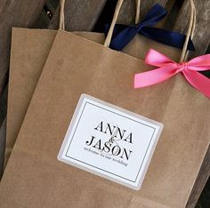 Personalized Double Border Wedding Welcome Bag by BeforeTheIDos, $1.95