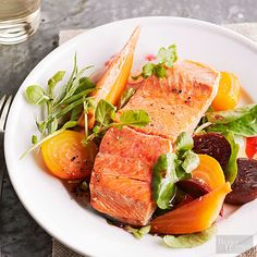 In-season red and golden beets contribute vibrant color and rich texture to spring recipes. Top the vegetable with flaky salmon and a refreshing tarragon-watercress dressing for an impressive low-calorie dinner. Recipe here: http://www.bhg.com/recipes/healthy/dinner/healthy-dinner-recipes-for-spring/?socsrc=bhgpin041415pepperpoachedsalmon&page=8