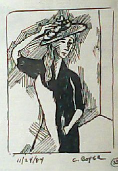 Sharyn with Hat. Pen and Ink on paper. 1984. Chuck Boyer