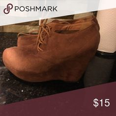 Suede Camel Wedge Booties Size 9 Camel Suede Booties with front laces Charlotte Russe Shoes Wedges