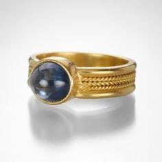 Sapphire Cabochon Ring with Three Braid Shank by Reinstein/Ross @QUADRUM