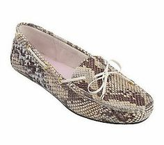Cute way to bring in the snake print trend...ISAACMIZRAHILIV Snake Embossed Leather Moccasins