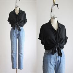 Casual Outfits, Cute Outfits, Fashion Outfits, Gothic Fashion, Black Silk Blouse, Vintage Outfits, Vintage Fashion, Looks Cool, Mode Inspiration