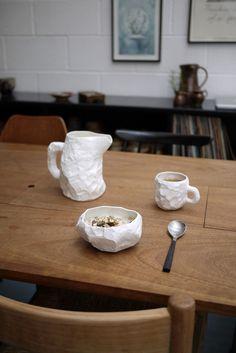 """Crockery"" by UK designer Max Lamb / Fine bone china tableware, made in Staffordshire, England."