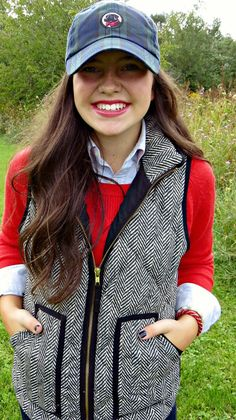 Love this vest and donning a cap with loose curls - herringbone vest - jcrew