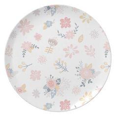 Retro floral Melamine Plate for kids  $26.95  by MelimeDesignStudio  - custom gift idea