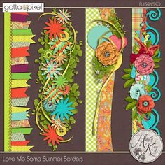 Love Me Some Summer Digital Scrapbook Border Pack. $2.99 at Gotta Pixel. www.gottapixel.net