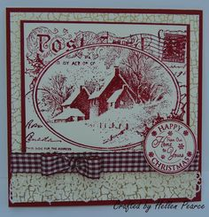 The feature stamp is from Stampendous CRR143 Snowy Postcard stamped in Cranberry Adirondack Ink on cream card