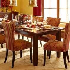 Carmilla Dining Chair - Red Damask