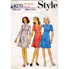 1970s Cute Babydoll Panelled Dress Vintage Sewing Pattern - Style 4070 Bust 34 Petites