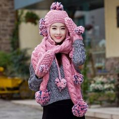 Lovely hairball hat scarf and glove set for women winter fleece design