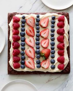 Dark Chocolate Brownies with Cream Cheese Icing and Fresh Fruit - Cupcakes