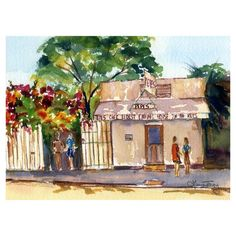 Pepes in Key West | Watercolor Print by laura trevey