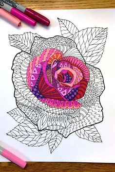Coloring Pages for Kids – Rose Zentangle