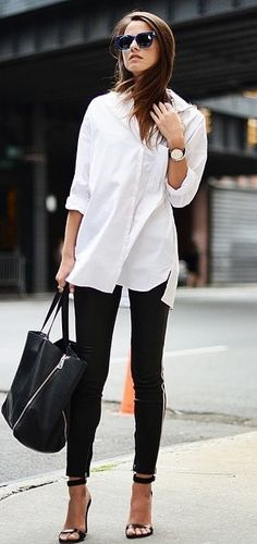 cool black and white office outfit