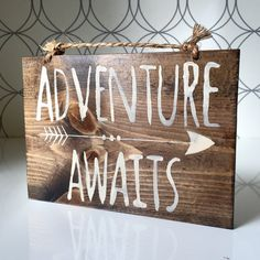 Sm. Adventure Awaits Sign / Wood Sign / Hippie by HollyWoodTwine