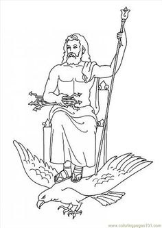 GOD ZEUS coloring page. This GOD ZEUS coloring page would make a cute present for your parents. You can choose more coloring pages from GREEK GODS . Dr Seuss Coloring Pages, Coloring Book Pages, Coloring For Kids, Coloring Sheets, Zeus Greek, Greek Gods, Greek Mythology Gods, Gods And Goddesses, New Gods