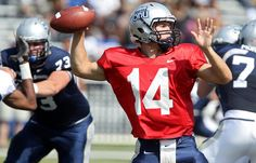 Old Dominion quarterback Taylor Heinicke winds up and throws during a spring scrimmage game in Norfolk Saturday, April 21. (Rob Ostermaier / April 21, 2012)