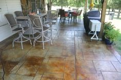 Concrete Overlay, Rustic Stained Concrete, Random Tile Pattern, Concrete Sealer. Concrete Sealer, Concrete Finishes, Stamped Concrete, Pattern Concrete, Concrete Overlay, Tile Patterns, Overlays, Tile Floor, House Ideas