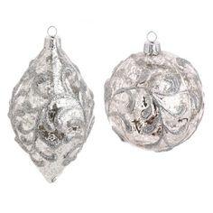 Amazon.com - RAZ Imports - Glass Mercury Silver Ball and Drop Ornaments - Christmas Pendant Ornaments