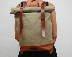 waxed Canvas Backpack,  mint color, hand waxed , with handles,double closure, leather base and closures