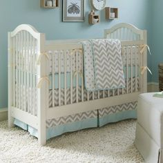 Taupe Zig Zag Crib Bedding | Boy or Girl Baby Bedding Collection in Taupe and White Zig Zag | Carousel Designs 500x500 image