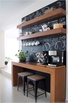 Creative Shelving Ideas for Kitchen – Diy Kitchen Shelving Ideas – Style Of Coffee Bar In Kitchen Coffee Nook, Coffee Bar Home, Home Coffee Stations, Coffee Bars, Coffee Shops, Coffee Station Kitchen, Office Coffee Station, Coffee Tables, Homework Station
