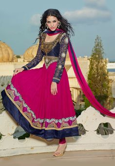 Stylish Navy Blue and Pink Anarkali