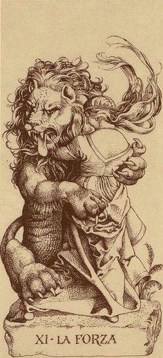 "giacinto gaudenzi - illustration for the ""durer tarot"" Art And Illustration, Strength Tarot, 4 Image, Tarot Tattoo, Le Tarot, Scratchboard, Albrecht Durer, Tarot Decks, Gravure"