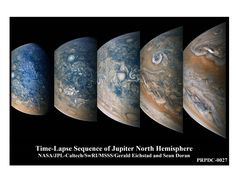 Striking atmospheric features in Jupiter's northern hemisphere are captured in this series of color-enhanced images from NASA's Juno spacecraft. via NASA Nasa Pictures, Nasa Photos, Nasa Images, Constellations, Nasa Juno, Juno Spacecraft, Nasa Engineer, Universe Today, Nasa Astronauts