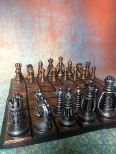 Steampunk Fantasy Chess Set - Hand Painted Steampunk Home Decor, Steampunk Crafts, Steampunk Gadgets, Steampunk House, Industrial Artwork, Vintage Industrial, 25 Wedding Anniversary Gifts, Steampunk Heart, Prusa I3