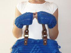 FREE SHIPPING //hand knitted blue fingerless gloves by Sudrishta, $30.00
