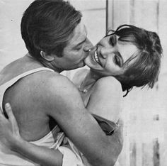 Existential cinema kiss... (Marcello Mastroianni & Anna Karina - The Stranger, Luchino Visconti)