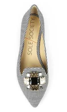Black & white striped pointed toe smoking slippers bejeweled with sparkling crystals