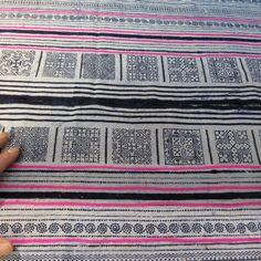 cool ethnic fabric/runners/etc. Handwoven batik hemp Hmong Vintage textiles and by dellshop