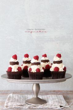 Lemon Raspberry Chocolate Cupcakes via Bakers Royale