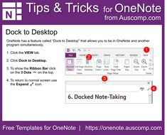 Tips and Tricks for OneNote users MS OneNote has a feature called Dock to Desktop that allows you to be in OneNote and another program simultaneously Microsoft Classroom, Onenote Template, One Note Microsoft, Microsoft Excel, Microsoft Office, Computer Shortcut Keys, Work Goals, Blog Planner, Evernote