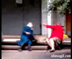 tv funny crazy fighting old lady
