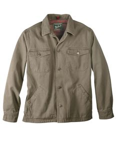 The heat-holding power of multi-layered clothing comes in a single shirt built to beat the cold. The plush fleece liner and rugged 100% cotton canvas are the perfect match for all your outdoor pursuits. This shirt jac features arctic insulation in the sleeves, heritage-style chest pockets, hand-warmer pockets and button closure. Imported.
