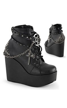 Demonia Gothic Faux Leather Pentagram Wedge Boots