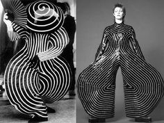 David Bowie's Ziggy Stardust jumpsuit from designed by Kansai Yamamoto has some similarities with the bauhaus ballet costumes. This is how powerfull can be bauhaus movement! Bowie Ziggy Stardust, David Bowie Ziggy, Jean Paul Goude, Costume Ethnique, Bauhaus Design, Robert Rauschenberg, Ballet Costumes, Fashion Art, Fashion Design