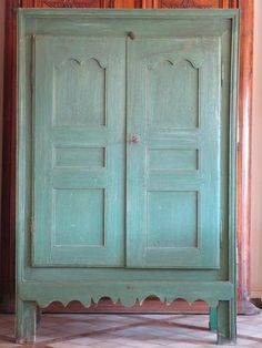 19th century French armoire / cupboard with scalloped detail - duck egg blue color