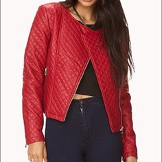 NWT Red Bold Quilted Moto Jacket Quilted faux leather moto jacket with a round neckline. Fully lined. Light to medium weight. Brand new with tags still attached. It's a deep red, not a bright red...like a deep red lipstick. Definitely not a burgundy though. Silver hardware. Fits a 4/6. Forever 21 Jackets & Coats