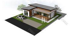 DATABKK.com | โมเดิร์นเรียบหรู 2 ห้องนอน 3 ห้องน้ำ ลูกเล่นเพียบ Modern Style Cabin House Plans, Small House Plans, Bedroom Layouts, House Layouts, Modern Bungalow House Design, Small Modern Cabin, Village House Design, My Home Design, Sims House