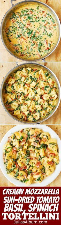 Sun-Dried Tomato, Basil & Spinach Tortellini in a super CREAMY Mozzarella Cheese sauce. Comfort food made in 30 minutes! #pasta #Italian