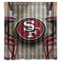 San Francisco NFL Shower Curtain Bathroom Home Decor Fabric Shower Curtains, Bathroom Shower Curtains, Unique Christmas Gifts, Team Apparel, Pin Up Girls, Artwork Prints, Man Cave, San Francisco, House Ideas