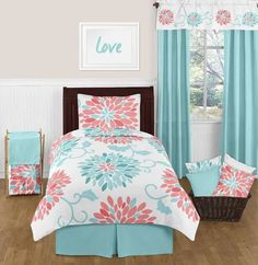 aqua and coral bedding sets
